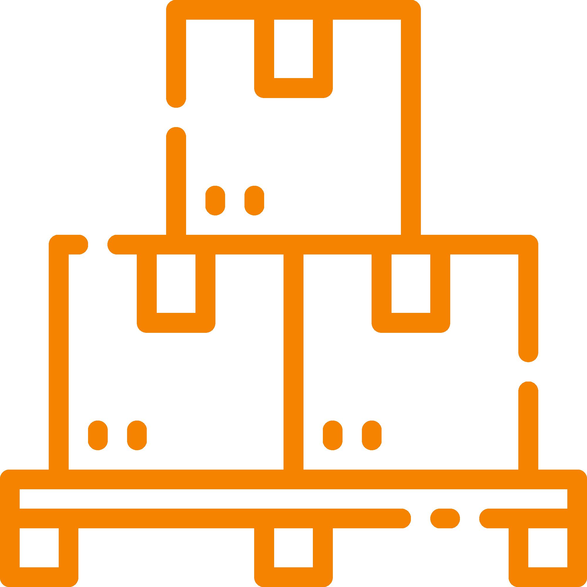 boxes in pile orange icon